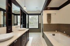 Master bath with dark wood trim Royalty Free Stock Photo