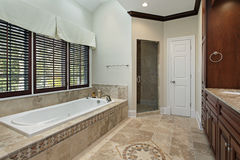 Master bath with floor design Royalty Free Stock Photos