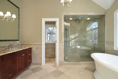 Master bath with freestanding tub Stock Photo