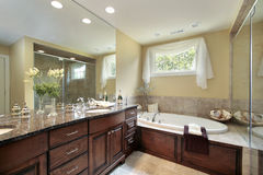 Master bath with glass shower Royalty Free Stock Photography