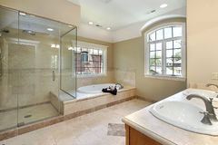 Master bath with glass shower Royalty Free Stock Photo