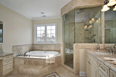 Master bath with large glass shower Stock Photography