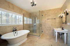 Master bath with large glass shower Stock Images