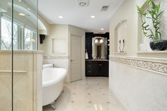 Master bath with large tub Stock Images