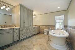 Master bath with large tub Royalty Free Stock Image