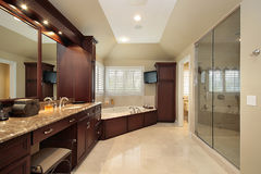 Master bath with large tub stock photography