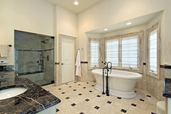 Master bath with large tub stock image