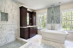 Master bath with large white tub Royalty Free Stock Photo