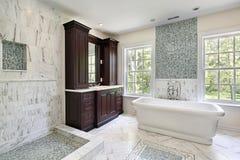 Master bath with large white tub royalty free stock photo