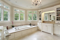 Master bath in luxury home stock images