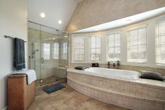 Master bath in luxury home Stock Image