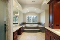 Master bath in luxury home. With cherry wood paneling Stock Image