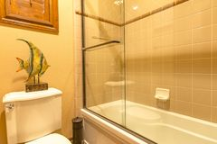 Master bath in luxury home with large glass shower bright and cl royalty free stock images