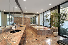 Master bath with marble floors Royalty Free Stock Photo