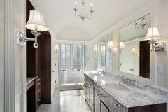 Master bath with marble shower Royalty Free Stock Photography
