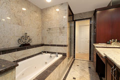 Master bath with marble tub Royalty Free Stock Photo