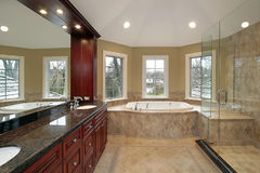 Master bath with marble tub Stock Images
