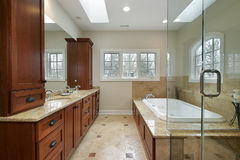 Master bath with marble tub Royalty Free Stock Image