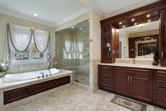Master bath with marble tub Royalty Free Stock Photos