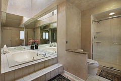 Master bath with mirrored tub Royalty Free Stock Photography