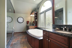 Master bath with multicolored flooring Stock Images