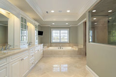 Master bath in new construction home Stock Photos