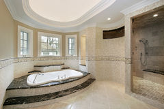 Master bath in new construction home Stock Photo