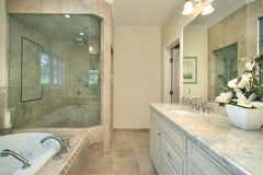 Master bath in new construction home Stock Image