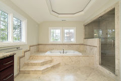 Master bath in new construction home Royalty Free Stock Photo
