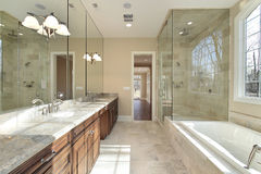 Master bath in new construction home Stock Images