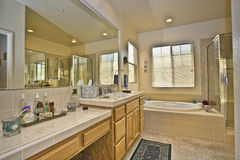 Master bath room in two story house Royalty Free Stock Image