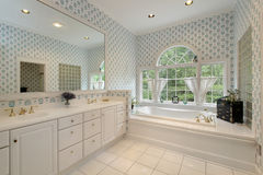 Master bath with rounded windows Stock Photo