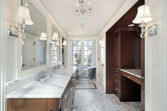 Master bath with stainless steel tub Royalty Free Stock Photos