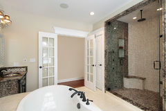 Master bath with tile shower royalty free stock image