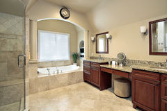 Master bath with tub columns Stock Photo
