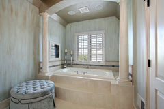Master bath with tub columns Stock Image