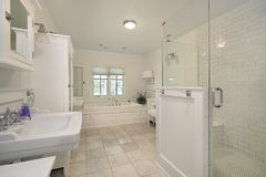 Master bath with white cabinetry Stock Photos