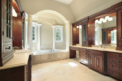 Master bath with white tub columns Stock Images