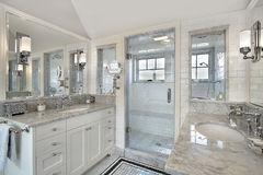 Master bath with windowed shower Royalty Free Stock Photography