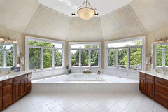 Master bath with windowed tub area Stock Images