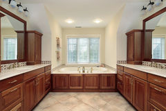 Master bath with wood cabinetry Stock Photos