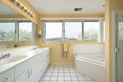 Master bath with yellow walls Stock Photography