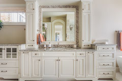 Master Bathroom Cabinets, Sink, and Vanity Royalty Free Stock Photography