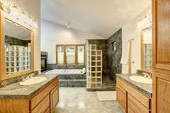 Master bathroom interior with tile flooring and modern cabinets. Royalty Free Stock Image
