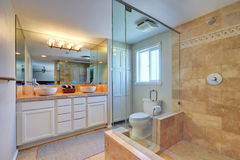 Master bathroom interior with walk in shower Royalty Free Stock Photos