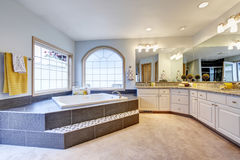 Master bathroom with large mirror, long counter and luxury bathtub Royalty Free Stock Images