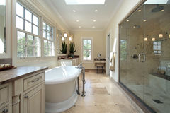 Master bathroom in new construction home. With large tub Royalty Free Stock Images