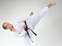 Master beats a high kick with a black belt Stock Photography