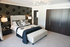 Master Bedroom. Interior of a modern master bedroom suite stock images