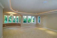Master Bedroom. Large luxurious unfurnished room with lots of upgrade Stock Photo